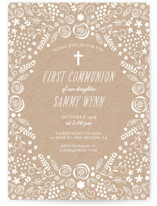This is a white communion invitations announcement by Chasity Smith called Communion Floral with standard printing on signature in standard.