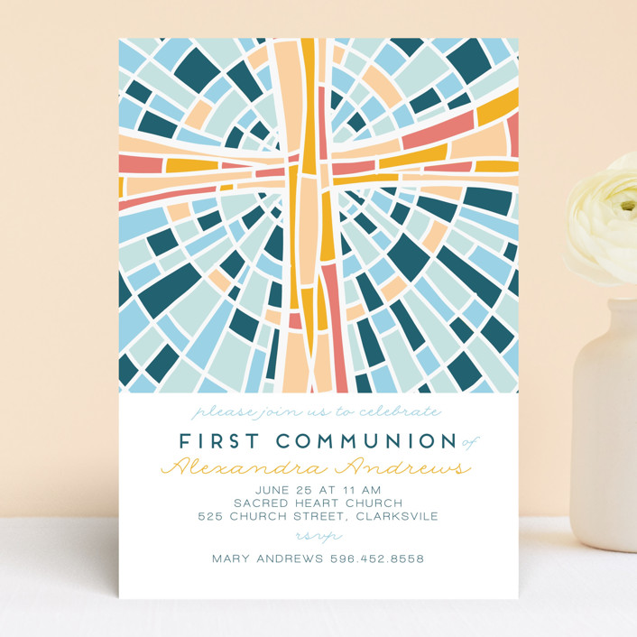 """""""Stained glass illustration"""" - Modern First Communion Invitations in Blue Sky by Ilze Lucero."""