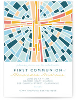 This is a blue communion invitations announcement by Ilze Lucero called Stained glass illustration with standard printing on signature in standard.