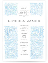 This is a blue communion invitations announcement by Michelle Taylor called Water drops with standard printing on signature in standard.