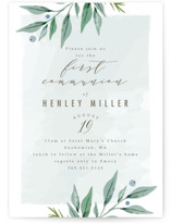 This is a blue communion invitations announcement by Karidy Walker called soft branches with standard printing on signature in standard.