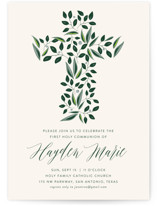 This is a beige communion invitations announcement by Haley Warner called Eden with standard printing on signature in standard.