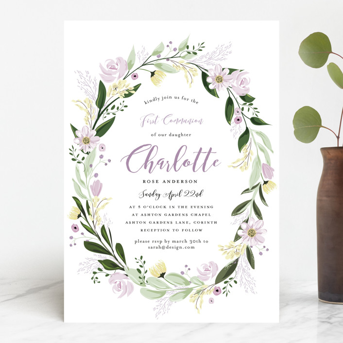 """""""Floral Sprinkle"""" - First Communion Invitations in Grape by Susan Moyal."""