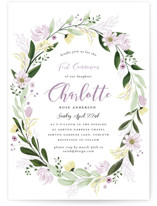 This is a purple communion invitations announcement by Susan Moyal called Floral Sprinkle with standard printing on signature in standard.