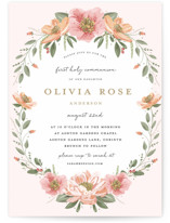 This is a pink communion invitations announcement by Susan Moyal called Garden Celebration with standard printing on signature in standard.