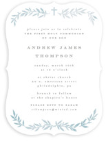 This is a blue communion invitations announcement by Everett Paper Goods called simple foliage with standard printing on signature in standard.