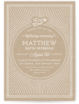 This is a brown communion invitations announcement by Robert and Stella called Like A Dove with standard printing on signature in standard.