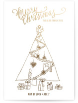 This is a gold completely custom card by Rebecca Daublin called Merry Scriptmas with foil-pressed printing on signature in standard.