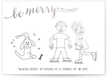 This is a silver completely custom card by Hooray Creative called Be Merry Script with foil-pressed printing on signature in standard.