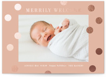 This is a pink babys first christma by Angela Garrick called a merry welcome with foil-pressed printing on smooth signature in standard.