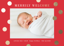 a merry welcome Foil-Pressed Holiday Birth Announcements By Angela Garrick