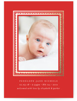 This is a red babys first christma by Susan Asbill called Festive Border with foil-pressed printing on smooth signature in standard.