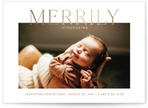 This is a white babys first christma by Toast & Laurel called Merrily Introducing with foil-pressed printing on smooth signature in standard.