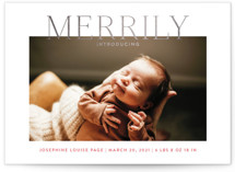 This is a pink babys first christma by Toast & Laurel called Merrily Introducing with foil-pressed printing on smooth signature in standard.