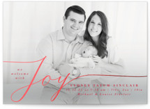 This is a red babys first christma by Olivia Raufman called Welcoming Joy with foil-pressed printing on smooth signature in standard.
