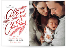 This is a red babys first christma by Alethea and Ruth called All we wanted for Christmas with foil-pressed printing on smooth signature in standard.
