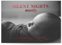 This is a red babys first christma by Lori Wemple called Mostly Silent Nights with foil-pressed printing on smooth signature in standard.