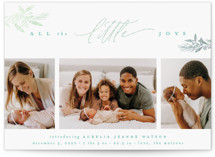This is a blue babys first christma by Everett Paper Goods called LITTLE JOYS with foil-pressed printing on smooth signature in standard.