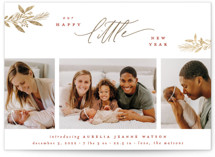 This is a red babys first christma by Everett Paper Goods called LITTLE JOYS with foil-pressed printing on smooth signature in standard.