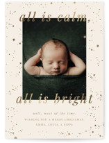This is a beige babys first christma by Ellen Schlegelmilch called All Is Calm with foil-pressed printing on smooth signature in standard.