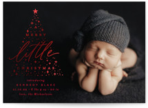 This is a red babys first christma by Everett Paper Goods called Sparkling Tree with foil-pressed printing on smooth signature in standard.