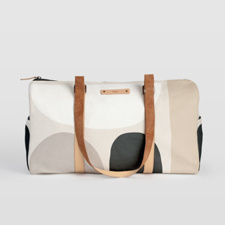 This is a grey duffle bag by Iveta Angelova called Dreamland in standard.