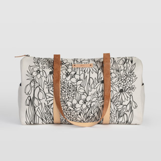 This is a black duffle bag by Karla Jodoin called Bohemian Florals in standard.