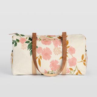 This is a pink duffle bag by Erin German called Botanical Cascade in standard.