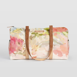 This is a pink duffle bag by Amy Hall called Spring Bloom.