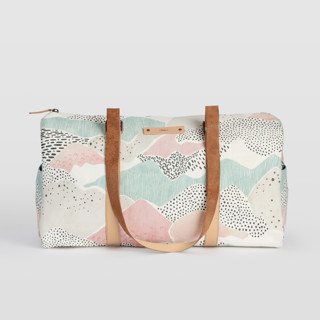 This is a blue duffle bag by Monika Drachal called Abstract View.