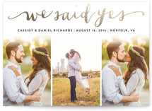 This is a gold wedding announcement by Ashley Hegarty called Jotted with foil-pressed printing on signature in standard.