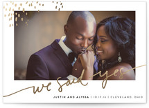This is a gold wedding announcement by Kelly Ventura called Let Love Shine with foil-pressed printing on signature in standard.