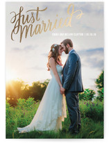 This is a gold wedding announcement by Rebecca Daublin called Married Script with foil-pressed printing on signature in standard.