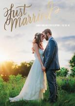 Married Script Foil-Pressed Wedding Announcement By Rebecca Daublin