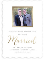 This is a gold wedding announcement by Hooray Creative called Modern Photo Frame with foil-pressed printing on signature in standard.
