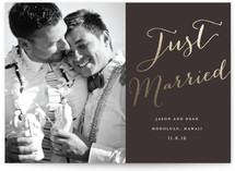 This is a gold wedding announcement by Eric Clegg called Cottonwood with foil-pressed printing on signature in standard.