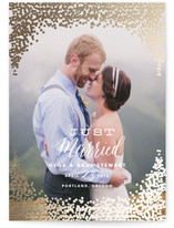 This is a gold wedding announcement by annie clark called Gold Rush with foil-pressed printing on signature in standard.