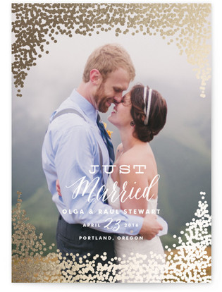 Gold Rush Foil-Pressed Wedding Announcement