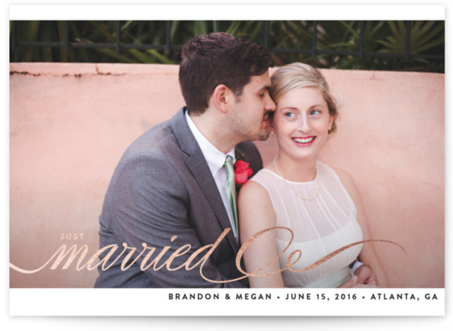 This is a landscape elegant, rosegold Wedding Announcements by Bourne Paper Co. called Married + Bright with Foil Pressed printing on Signature in Classic Flat Card format. Created for you by Minted's global community of designers, our unique Foil Pressed ...