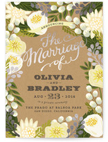 This is a yellow wedding announcement by Griffinbell Paper Co. called Floral Canopy with foil-pressed printing on signature in standard.