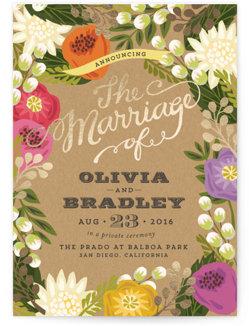 This is a portrait botanical, rustic, colorful Wedding Announcements by Griffinbell Paper Co. called Floral Canopy with Foil Pressed printing on Signature in Classic Flat Card format.