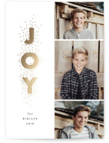 This is a grey christmas postcard by Stacey Meacham called Joy stacked with foil-pressed printing on signature in postcard.
