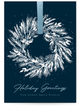 This is a blue christmas postcard by Kacey Kendrick Wagner called Holiday Wreath with foil-pressed printing on signature in postcard.