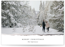 This is a white christmas postcard by Ekko Studio called Gilded Edge with foil-pressed printing on signature in postcard.