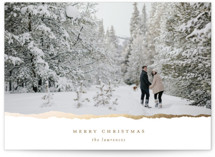 This is a brown christmas postcard by Ekko Studio called Gilded Edge with foil-pressed printing on signature in postcard.