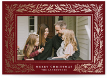This is a red christmas postcard by Meagan Christensen called Winter Fest with foil-pressed printing on signature in postcard.