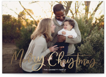 This is a white christmas postcard by Kristen Smith called Modern Merry Greeting with foil-pressed printing on signature in postcard.