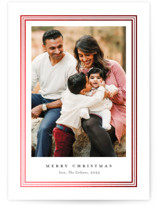 This is a white christmas postcard by Stacey Meacham called Ever classic with foil-pressed printing on signature in postcard.