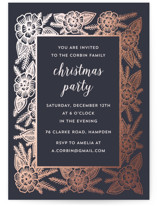 This is a blue holiday party invitation by Katharine Watson called Christmas Frame printing on signature.