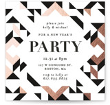 This is a black holiday party invitation by Kelly Schmidt called Geometric Holiday Party printing on signature.